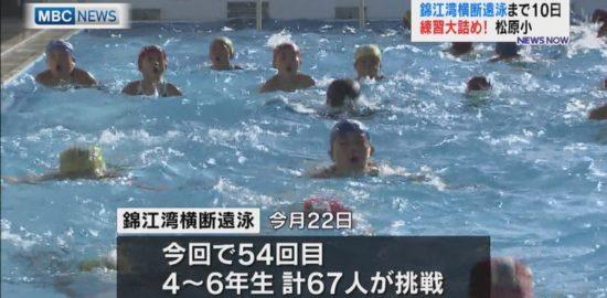 錦江湾横断遠泳までカウントダウン!松原小、練習中です!
