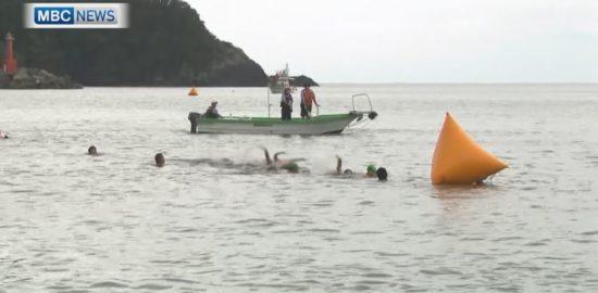 屋久島でオープンウォータースイミング大会